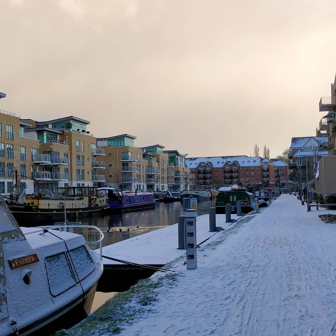 Brentford canal in snow