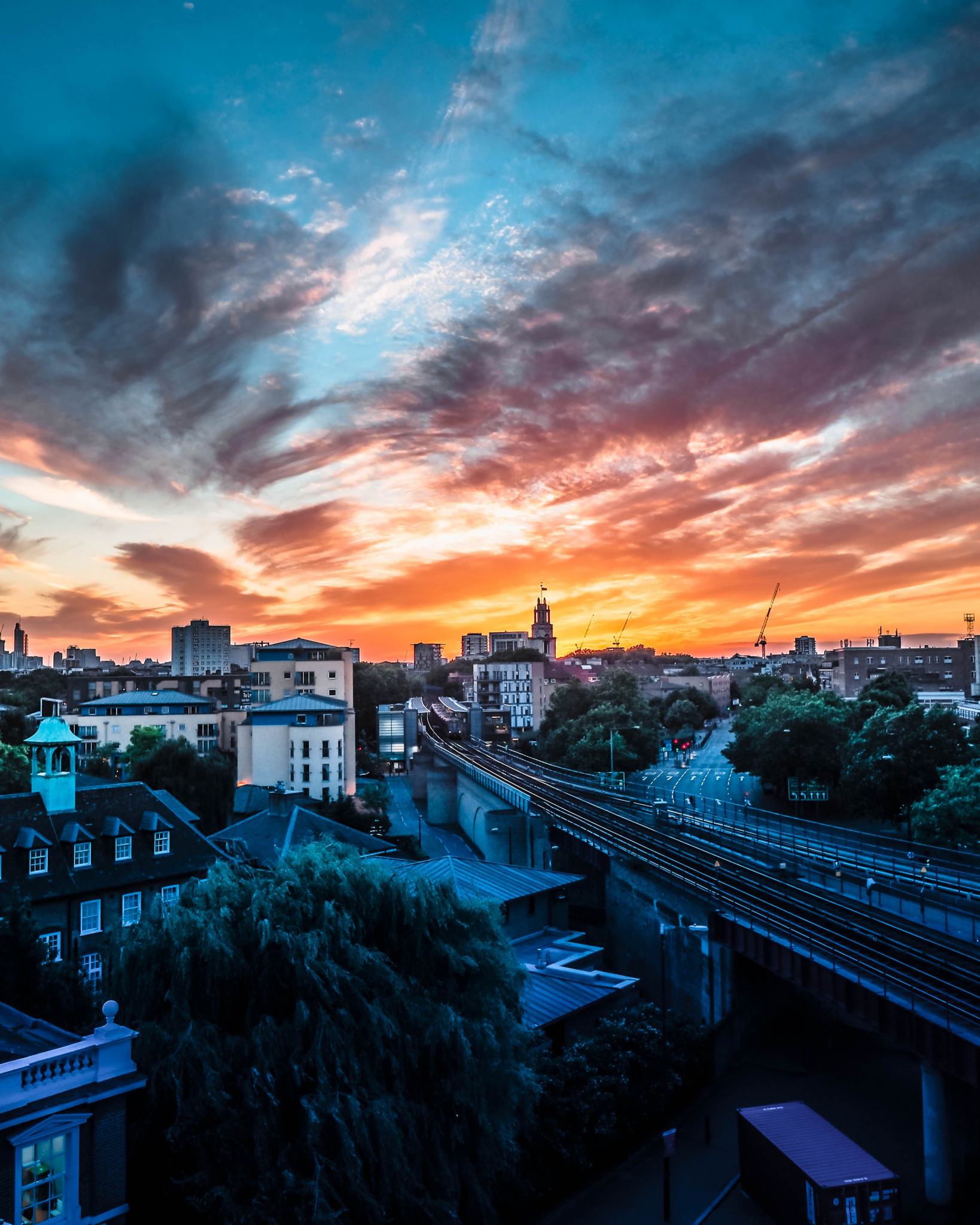 Sunset over west London