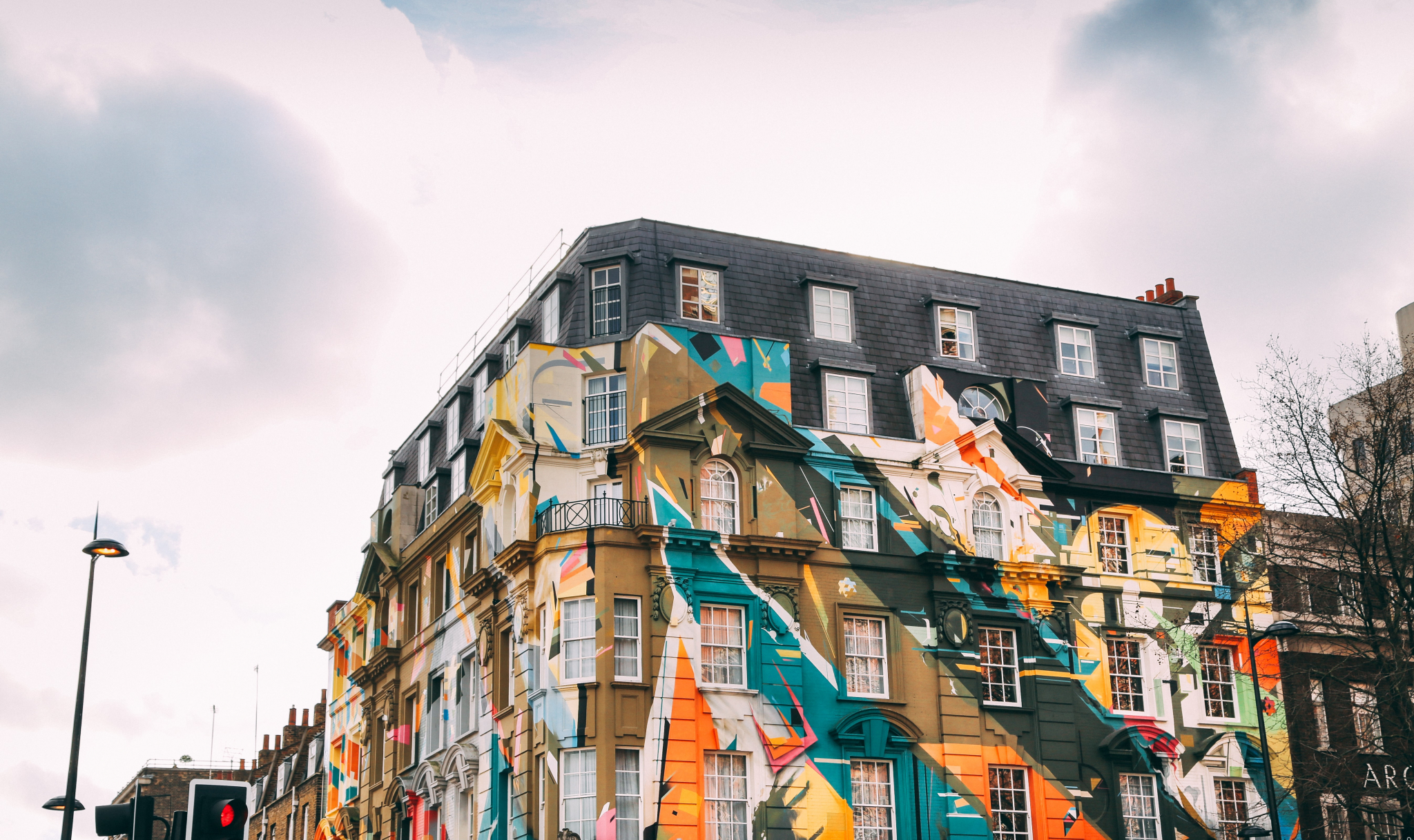 Building with art work painted on