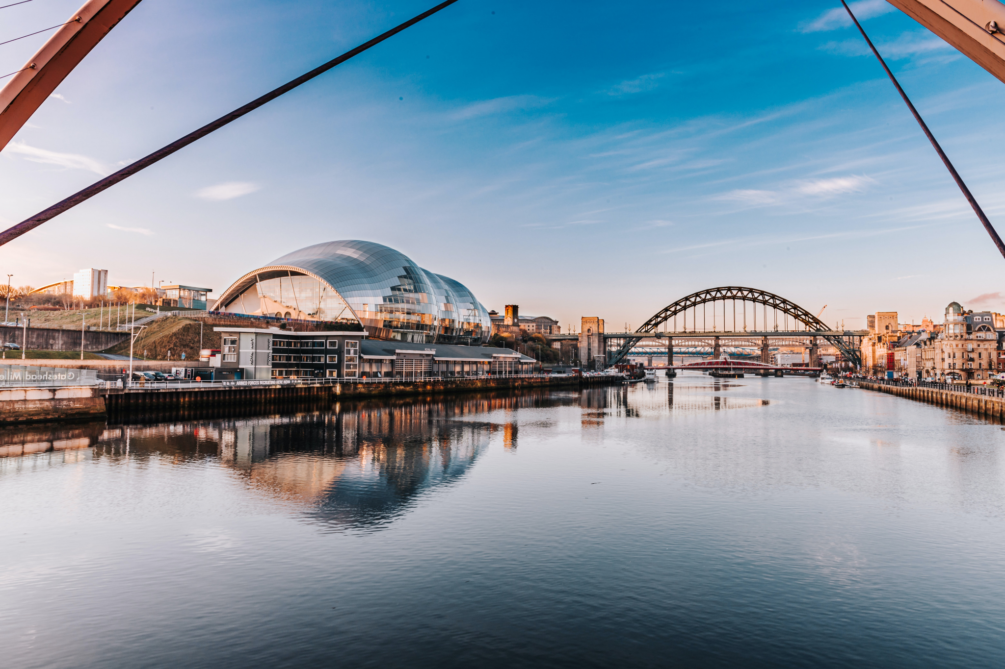 Newcastle river with famous buildings in the background