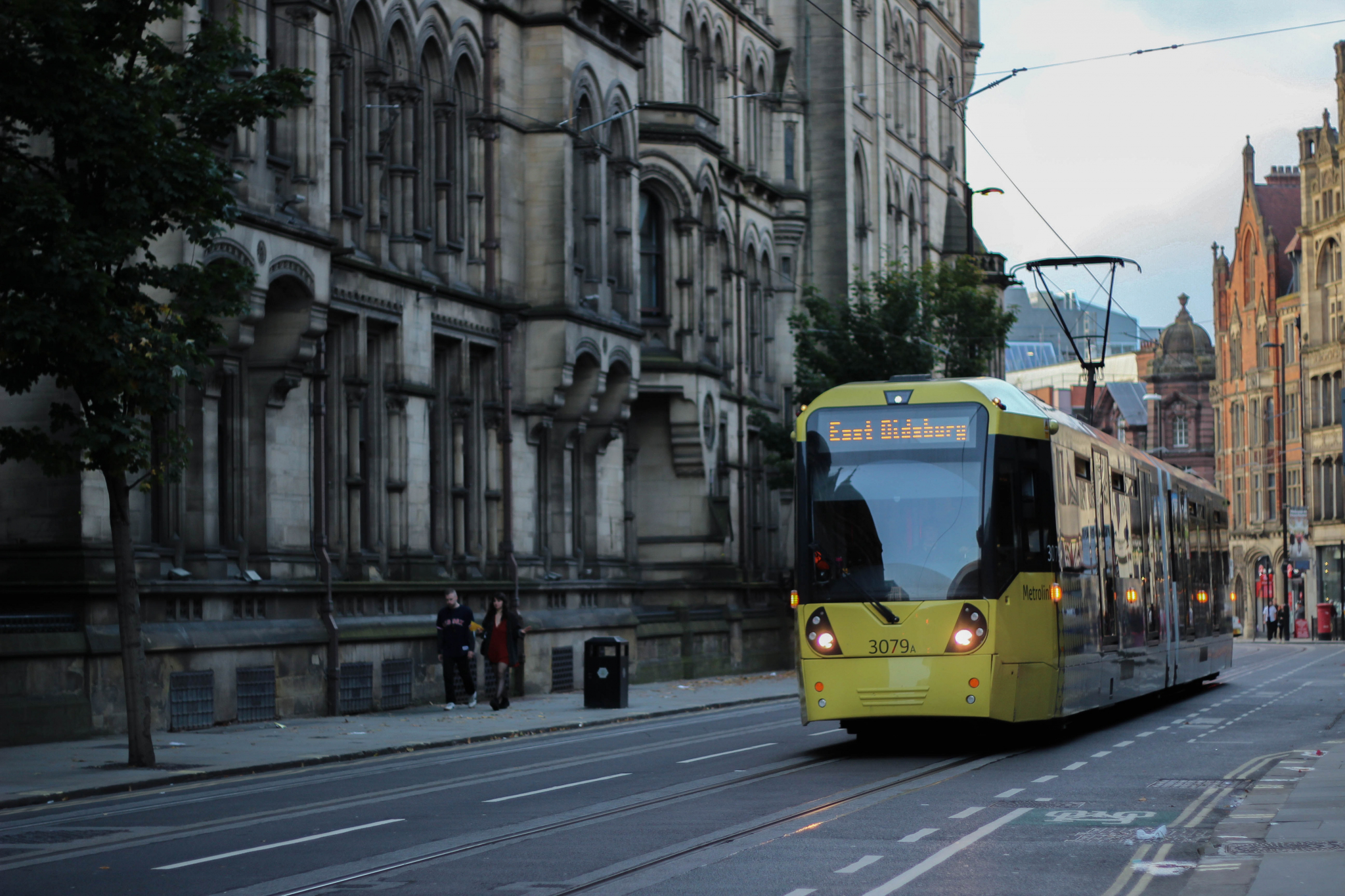Street with tram in Manchester