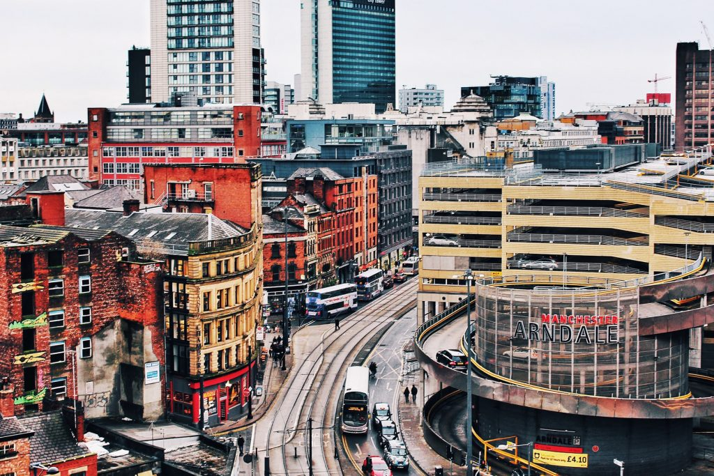 manchester tram and buildings