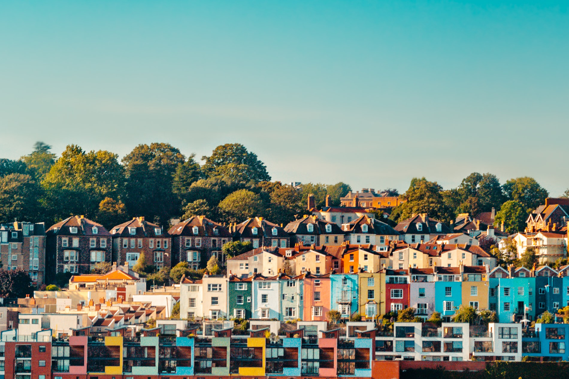 Colourful terraced houses in Bristol