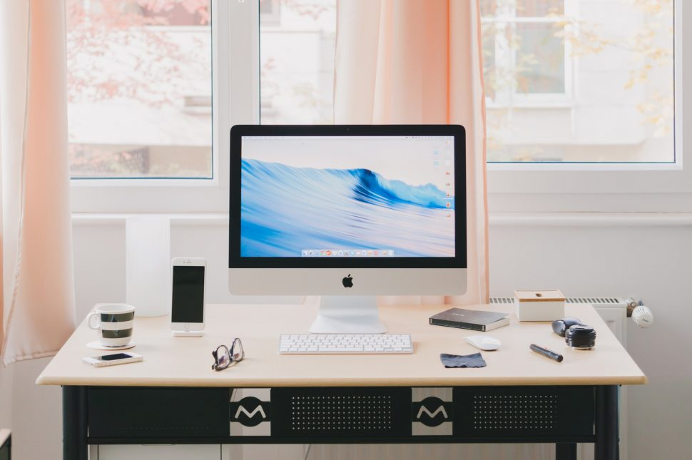 Home office desk with iMac