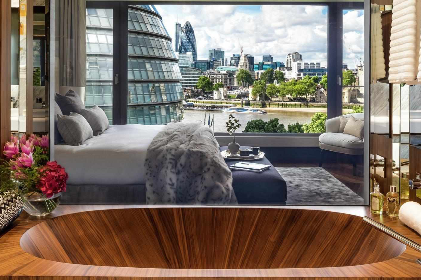 The view from a bedroom at One Tower Bridge looking over City Hall and the River Thames