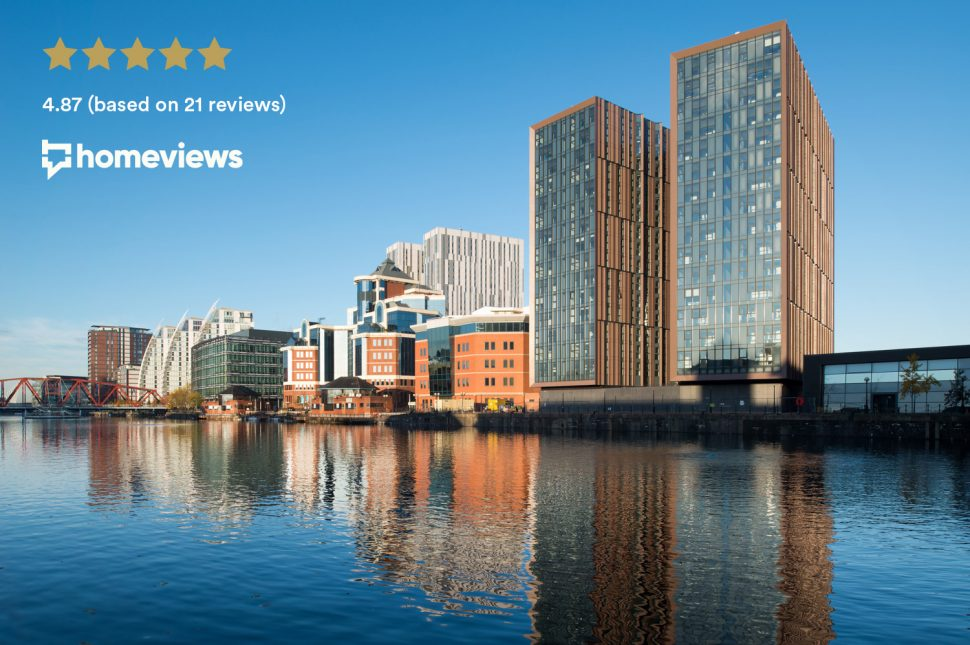 The Duet building on Salford Quay in Manchester - rated the best residential building in the UK