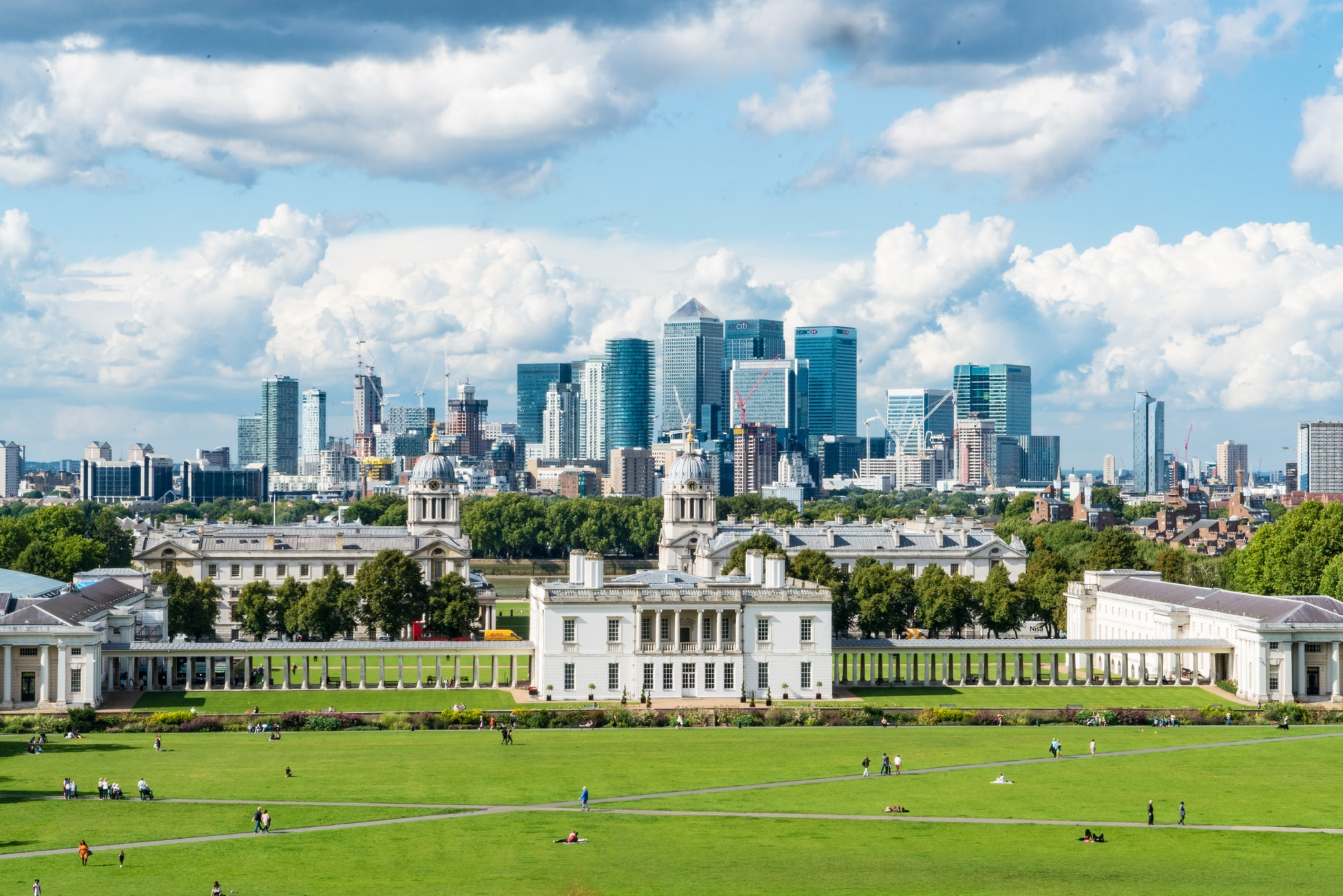 The view north from Greenwich Park across to the Isle of Dogs and Canary Wharf