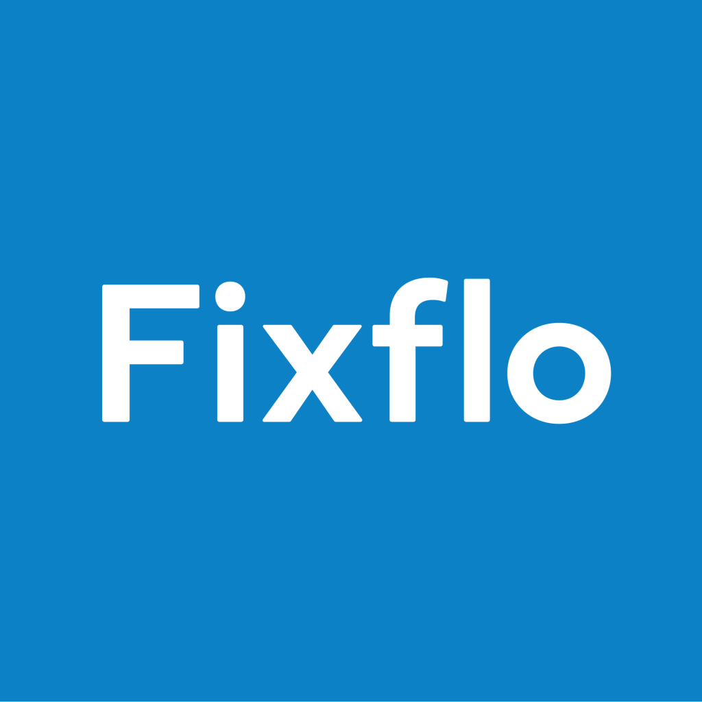 Fixflo logo white on blue square