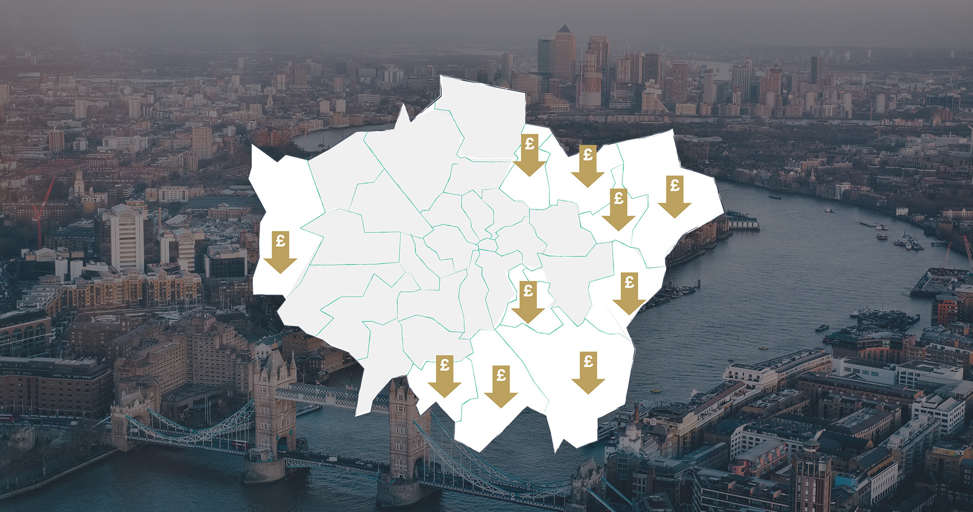 Map showing the 10 cheapest places to live in London