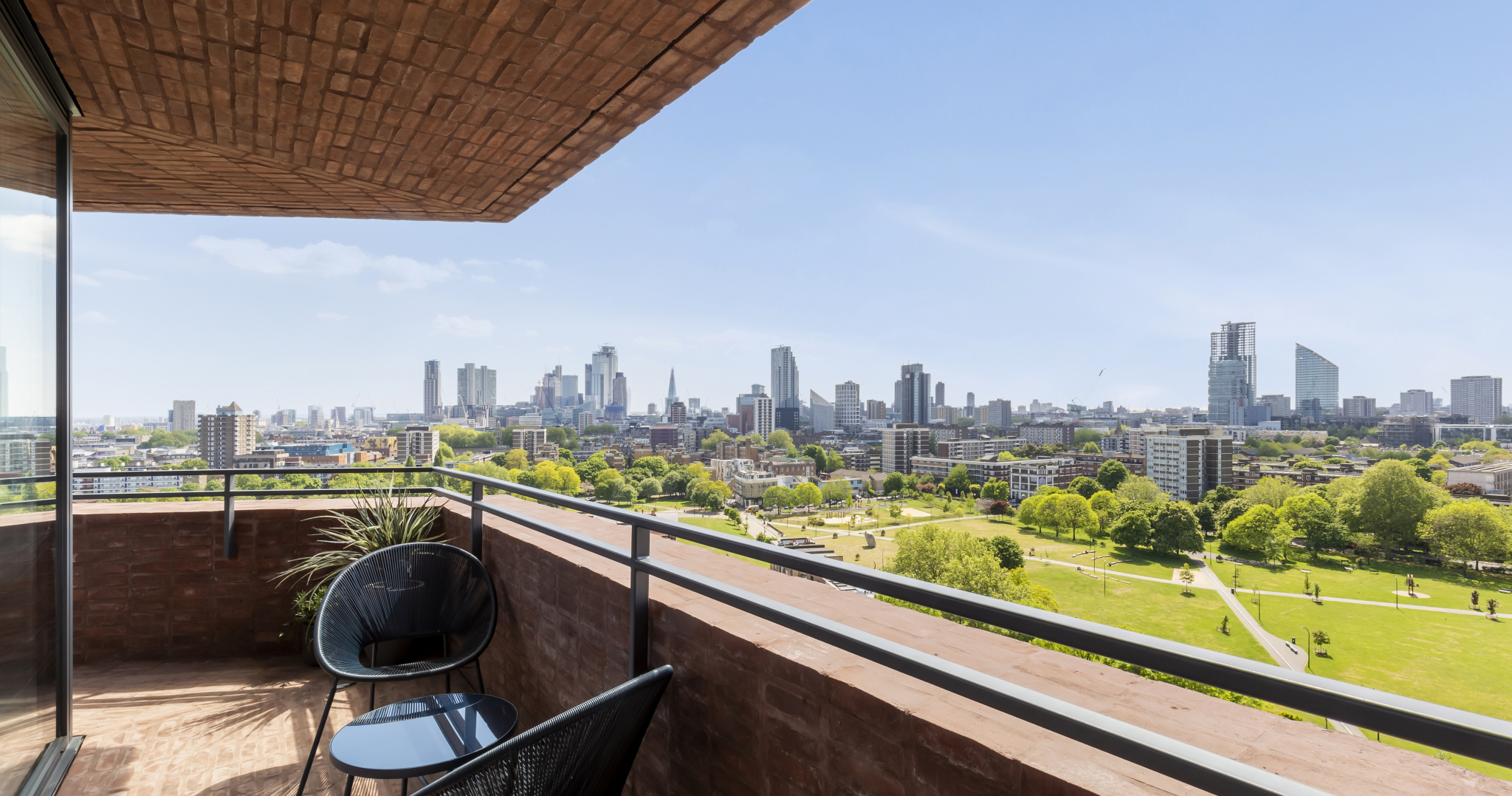View over North London from the balcony of an apartment in the Hoxton Press development