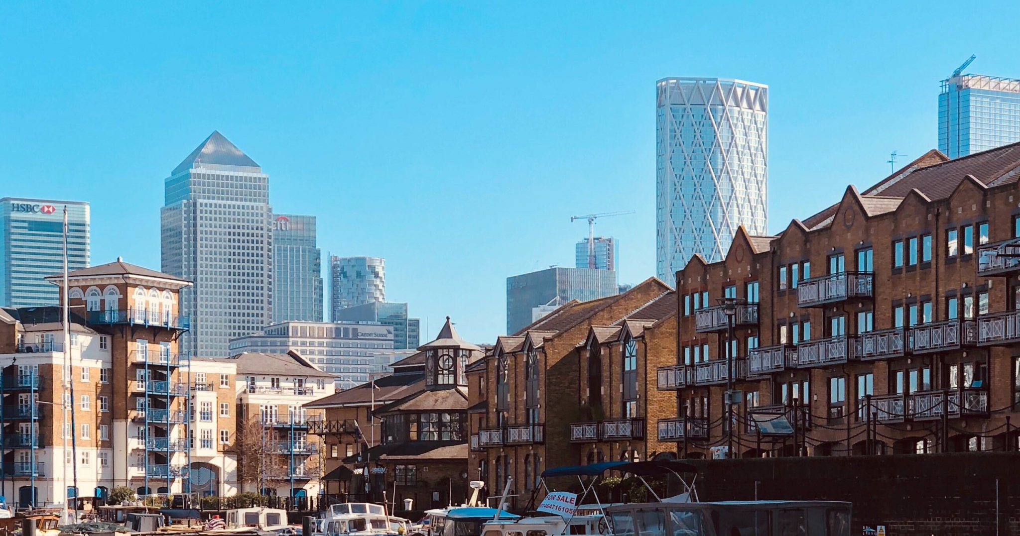 New homes and buildings in Canary Wharf, East London