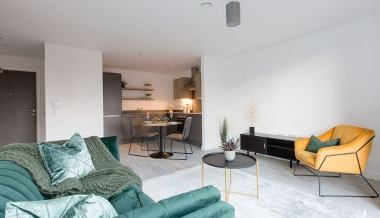 Living area for a one bed flat in the Vox development