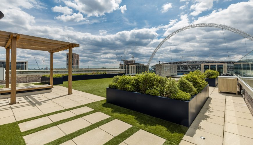 The Landsby rooftop terrace in Wembley Park, North West London