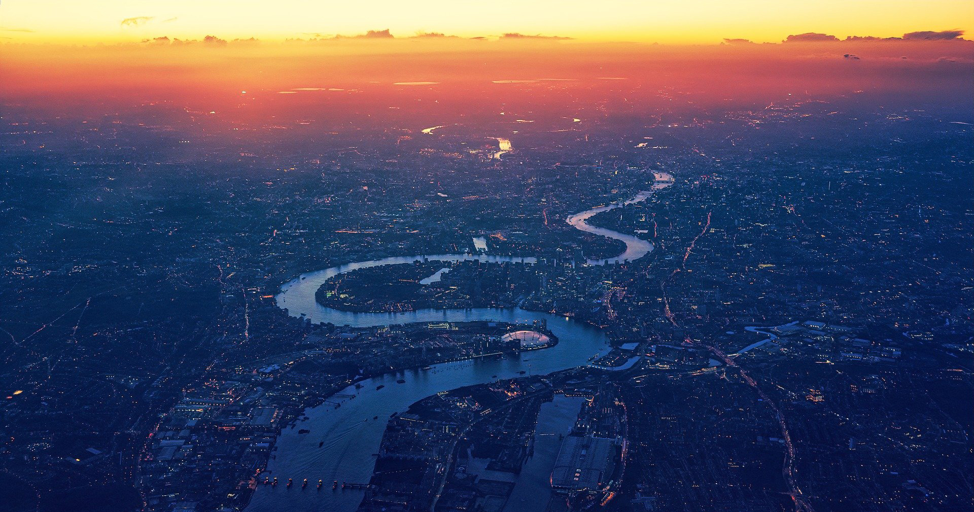 Aerial view over London at sunset