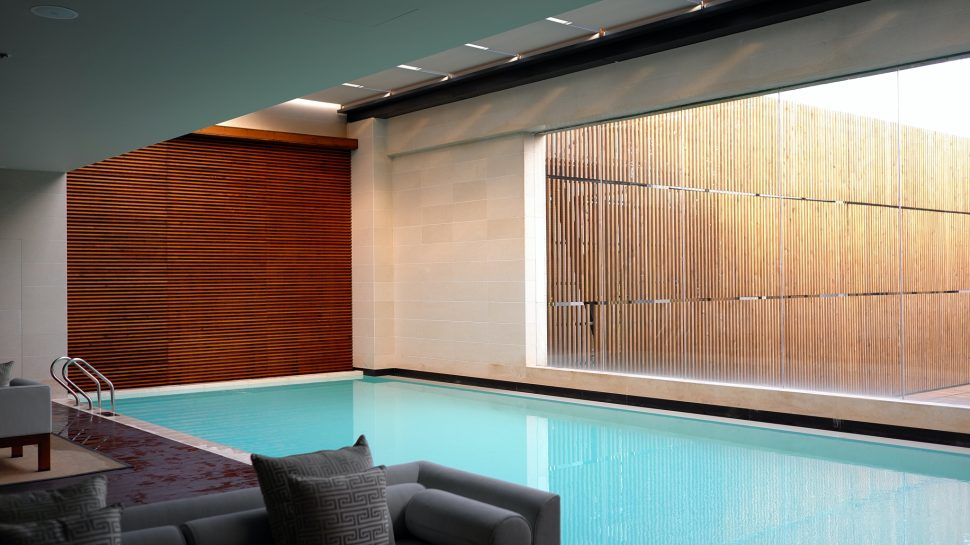 Swimming pool and lounge area for share of freehold apartment.