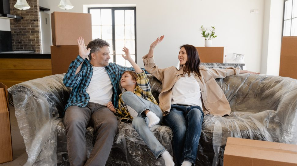 Family moving into social housing.